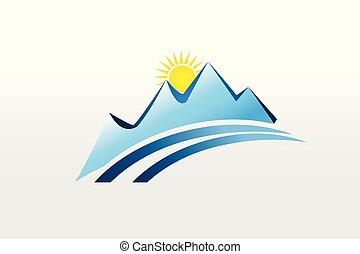 montanhas, e, sol, logotipo, desenho