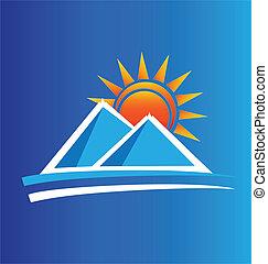 montanhas, e, sol, logotipo, vetorial