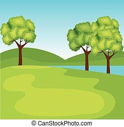 montanhas, ecologia, rio, árvores, natureza