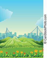 montanhas, edifícios, através, alto
