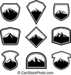 montanhas., emblema, desenho, logotipo, emblemas, sinal., etiqueta, elementos, jogo, vazio