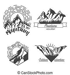 montanhas, emblemas, pretas