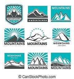 montanhas, emblemas, vetorial