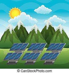 montanhas, energia limpa, solar, paisagem, painel