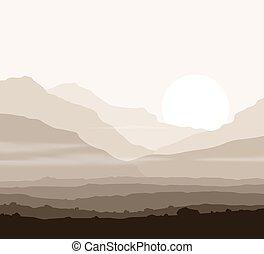 montanhas, enorme, sobre, lifeless, sun., paisagem