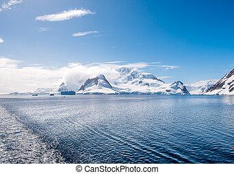 montanhas, errera, península, península, antártica, neve-tampado, antárctico, arctowski, canal