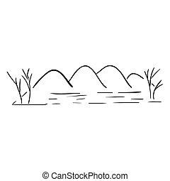 montanhas, esboço, rio, silueta, paisagem