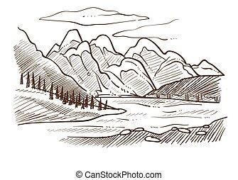 montanhas, esboço, vale, colinas, floresta, paisagem rio