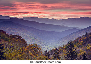 montanhas, esfumaçado, parque, nacional