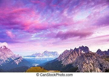 montanhas, espantoso, pôr do sol