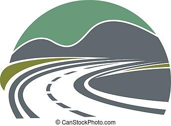 montanhas, estrada, ou, rodovia, desaparecer