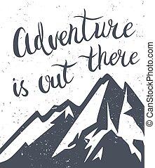 montanhas, exploração, poster.