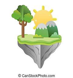 montanhas, flutuador, árvore, ilha, sol