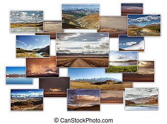 montanhas, foto, colagem, viagem, conceito