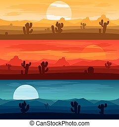 montanhas, fundos, dias, vetorial, noturna, paisagem deserto