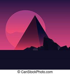 montanhas, futuro, retro, cena, etiqueta