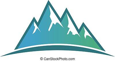 montanhas, gráfico, vetorial, desenho, pico, logo.