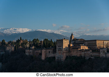 montanhas, granada, palácio, alhambra, neve, fundo, sierra, spain., nevada, espanha, vista