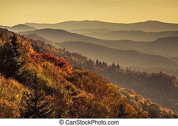 montanhas, grande, esfumaçado, parque, outono, nacional