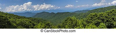 montanhas, grande, natural, esfumaçado, paisagem