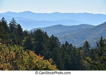 montanhas, grande, parque, esfumaçado, nacional