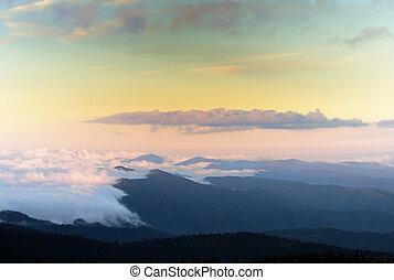 montanhas, grande, smokey