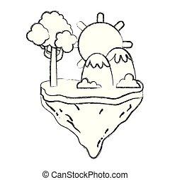 montanhas, grunge, ilha, flutuador, árvore, sol