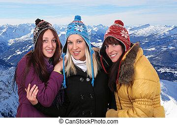 montanhas, grupo, inverno, pessoas, jovem, sorrindo, mulheres