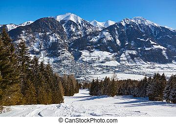 montanhas, hofgastein, -, mau, recurso, áustria, esqui