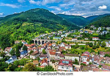 montanhas, -, hornberg, schwarzwald, alemanha, vila, vista
