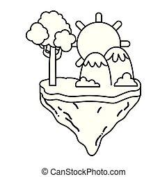 montanhas, ilha, flutuador, árvore, sol, linha