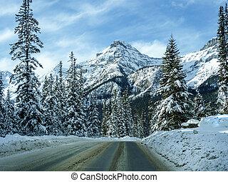 montanhas, inverno, louise, lago, paisagem, rochoso