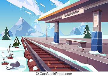 montanhas, inverno, nevado, estação, estrada ferro, paisagem