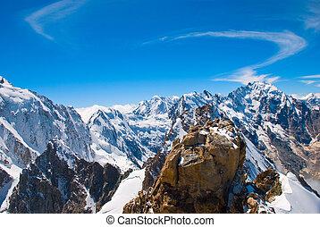 montanhas, inverno, picos