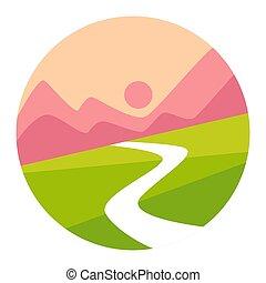 montanhas, isolado, pôr do sol, vale, identidade incorporada, ícone