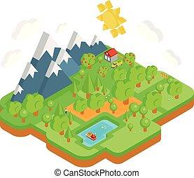 montanhas, isometric, natural, apartamento, concept., forest., vetorial, paisagem rio, 3d