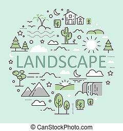 montanhas, jogo, arte, ícones, paisagem natureza, vetorial, linha magra, urbano, floresta