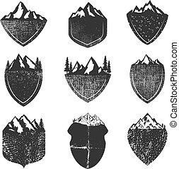 montanhas, jogo, grunge, isolado, fundo, branca, emblemas