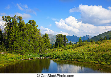 montanhas, lago