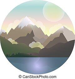 montanhas, lago, vetorial, sun., floresta, paisagem