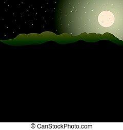 montanhas, landscape.eps, vetorial, desenho, lua
