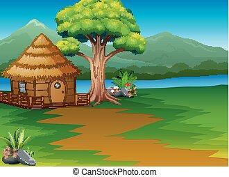 montanhas, madeiras, cabana, fundo, rio, caricatura, paisagem