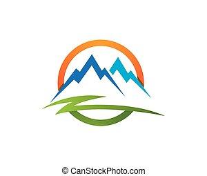 montanhas, modelo, logotipo