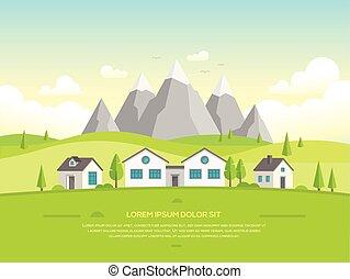montanhas, modernos, -, ilustração, casas, vetorial, pequeno