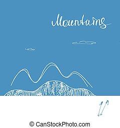 montanhas, montanhas., vetorial, cartaz, expedir, logo.