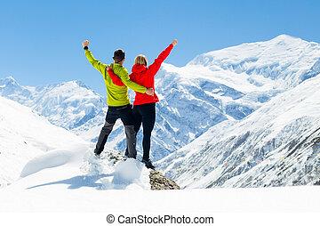 montanhas, mulher, inverno, hiking, sucesso