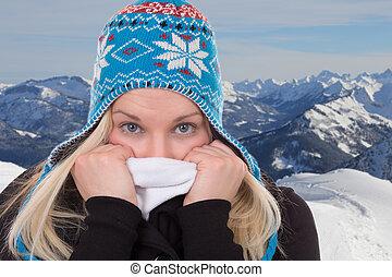 montanhas, mulher, inverno, loura, retrato, gelado