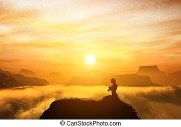 montanhas, mulher, ioga, sentando, topo, meditar, posição