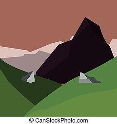 montanhas, natural, colinas, paisagem, campo