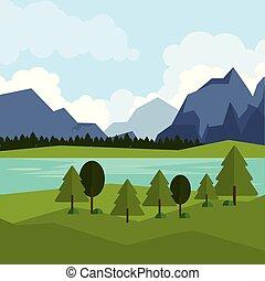 montanhas, natural, coloridos, fundo, paisagem rio